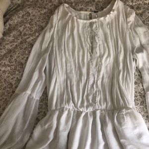 White Free People Long Sleeved Blouse